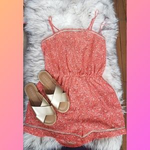 Orange Coral Ditsy Floral Romper with Lace Trim